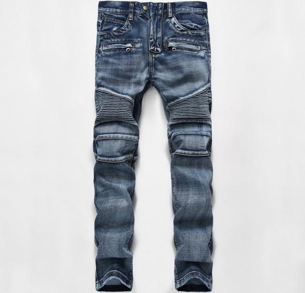 Großhandels-europäische amerikanische Art berühmte Marke Männer Jeans Luxus Herren Denim-Hosen dünne gerade Patchwork Gentleman Reißverschluss Jeans Hose