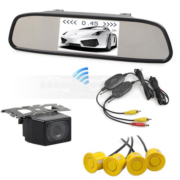 Wireless Video Parking Radar 4.3 Inch Car LCD Mirror Car Monitor + IR Night Vision Rear View Car Camera + 4 x Sensor