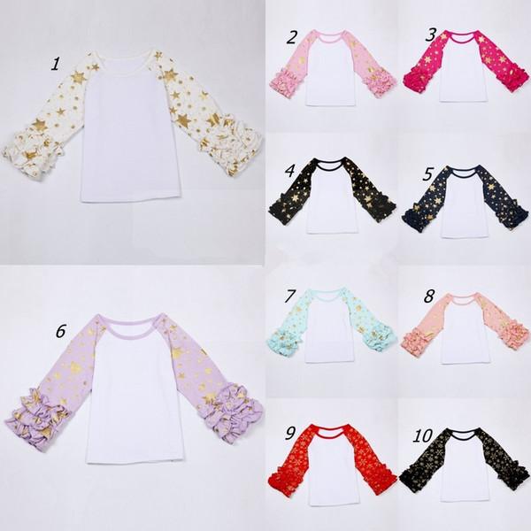 best selling Girls Gold Star Snowflake Print shirt Spring Autumn Kids long sleeve icing Ruffled raglan Tops toddler glitter birthday shirt