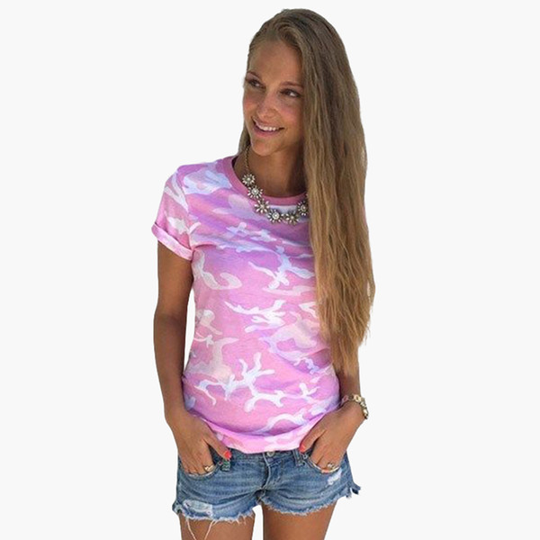 2017 Summer Tops Fashion Harajuku Style Camouflage T-Shirt Female Tops Short Sleeve Casual Women T Shirts Clothes LJ8494C