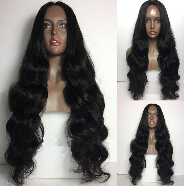 Full Lace Wig Extra Long Length Glueless Wigs 1B Virgin Human Hair Hot Sale Loose Wave Lace Front Wig Free Shipping