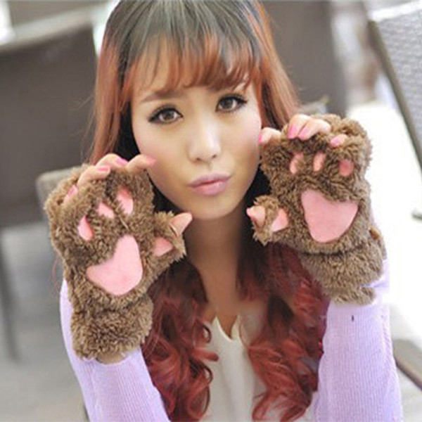 Wholesale- Fluffy Bear/Cat Plush Paw/Claw Glove Novelty Halloween Soft Toweling Half Covered Women's Gloves Mittens