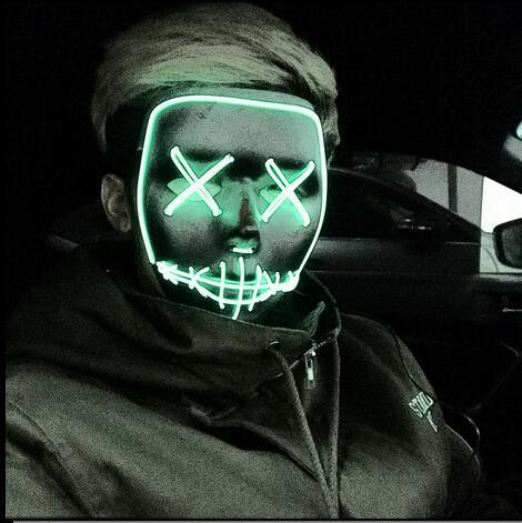 New Hot Sale Halloween ghost Slit mouth light up glowing EL wire mask Fashion Cosplay mask Costume mask for party By 3V Steady On Driver