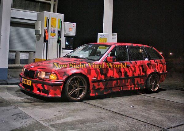 Jumbo Elite Black Red Camouflage Vinyl Wrap Film Rosso Camo Car Wrap Vinyl Bubble Free per gli involucri per auto