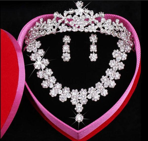 Clear Austrian Rhinestone Crystal Necklace Earrings Set Bridal Crown Tiara Wedding Jewlery Free Shipping Daisy Korean pearl Crystal