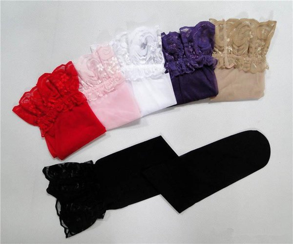 Top sell Sexy Womens Sheer Lace Top Silicone Non-slip Silicone Stocking Band Stay Up Thigh High Stockings Pantyhose lingerie Free Shipping