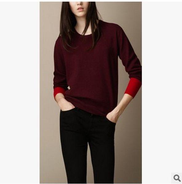 e68b892c925c The new lady cashmere sweater British hit big color stitching fashion round  neck Merino thin sweater