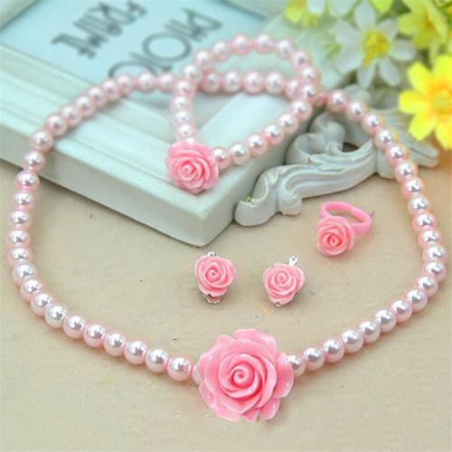 Kinder Baby Mädchen Kind Perle Blume Halskette Armband Ring Ohrclips Set Halskette + Armband + Ring + Ohrclips Kinder Schmuck Set Freies DHL