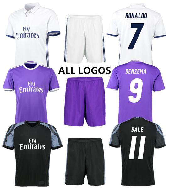 Camisetas de fútbol de calidad tailandesa Real Madrid Home lejos tercer juego uniforme 16-17 club de fútbol para hombre conjunto de kits para niños camisa polo personalizado orden de la mezcla