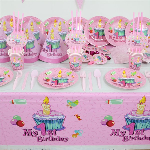 Wholesale- 61pc 20 people Pink 1st birthday party paper plate cups/glass napkin banner baby girl 1 year old party's disposable decoration