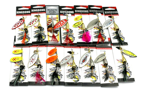 best selling 14 styles Mixed Metal Spoons Baits Fly Fishing Ice Fishing Freashwater Fishing VIB Blades Spinner lure sequins Rotate Spinnerbaits