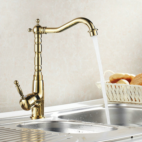 Wholesale- Auswind Antique Brass Gold Faucet Kitchen Swivel Faucets Bathroom Faucet Sink Basin Mixer Tap