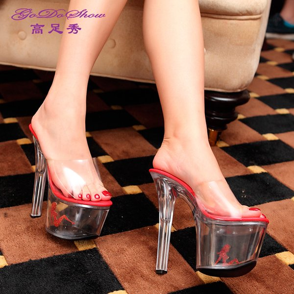 17cm Sexy waterproof table thick bottom slippers fashion summer shoes high heels sandals sandals transparent crystal sandals foot fetish