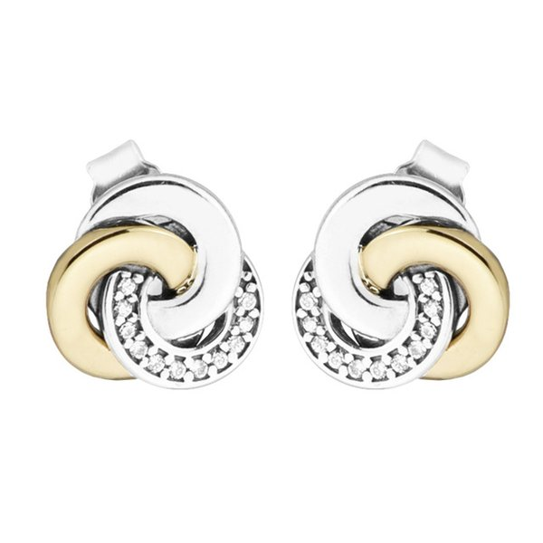 Interlinked Circles Stud Earrings Clear CZ 2017 Spring 100% 925 Sterling Silver Earrings Authentic Fashion Jewelry DIY Charm Brand