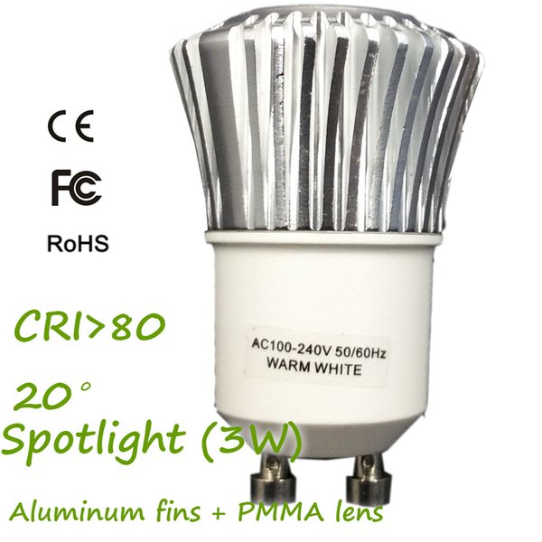 GU10/GU11 D35XH51mm AC 100-240V 3W LED Mini Spotlight 3000K 230Lm, Aluminum Fins Heat Sink 3 LEDs with Lens 20 Degree