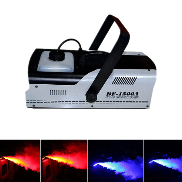top popular Multifunction 1500W Fog Smoke Machine with Wire Control or Remote DMX512 Control LED Stage Lights dhl free shipping 2021
