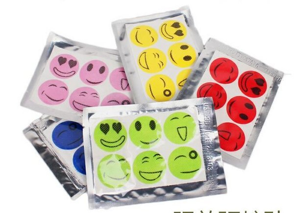 best selling 200set ( 1Set 6pcs ) New Hot Mosquito Repellent Patch Smiling Face Drive Midge Mosquito Killer Cartoon Anti Repeller Sticker TPA001