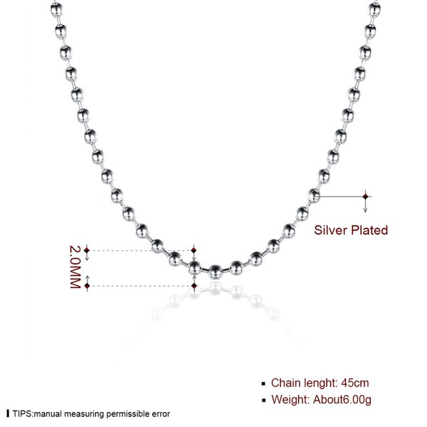 Fashion Jewelry 925 Silver Necklace 2mm Smooth Beads Chain Necklace Fit All Pendant Necklaces Free Shipping Mix Size