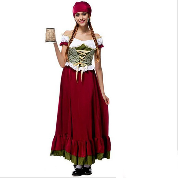 2017 Oktoberfest Beer Girl Costume 10Pcs/Lot Sexy Cosplay Halloween Uniform Temptation Traditional Bavarian National Clothing Hot Selling