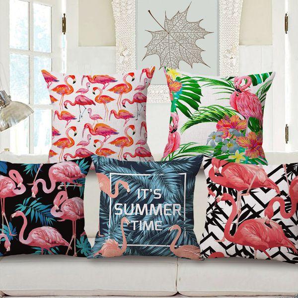 1Pcs Flamingo Pattern Cotton Linen Throw Pillow Cushion Cover Seat Car Home Decoration Sofa Decor Decorative Pillowcase