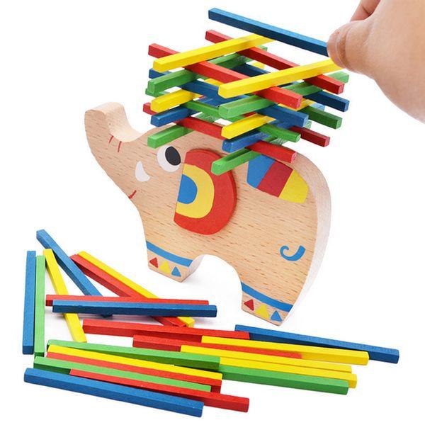 Novas Crianças De Madeira Elefante Blocos de Construção de Equilíbrio Brinquedos Jogos de Educação Infantil Brinquedos de Inteligência Parent-criança Interação Jogos