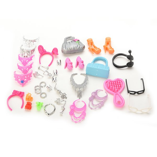 40 Pcs Doll Decor Fashion Jewelry for Barbie Necklace Earring Bowknot Crown Accessory Dolls Girl Kids Gift