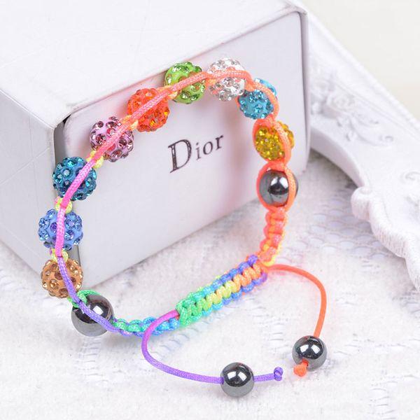 Hot New Handmade Crystal Shambala Bead Rope Spread Bracelet Pave Disco Ball Bracelet Jewelry gift free shipping