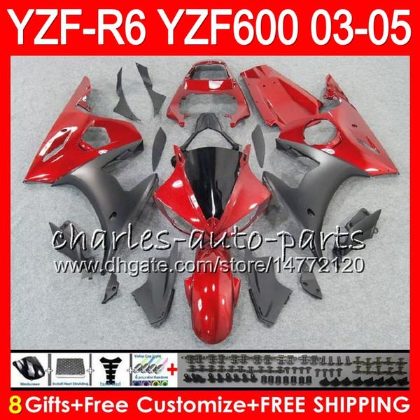 8Gifts 23Colors Body Pour YAMAHA YZF600 YZFR6 03 04 05 YZF-R600 56HM6 YZF R 6 YZF 600 YZF-R6 YZF R6 2003 2004 2005 Kit de carénage Rouge foncé noir