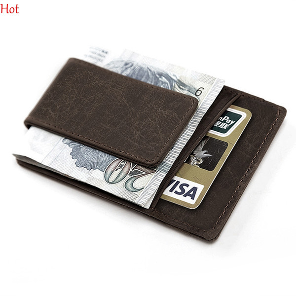 Mini Mens Leather Money Clip Wallet With Coin Pocket Card Slots Thin Purse Man Business Magnet Hasp Card Holder Money Clip Hot SV029302