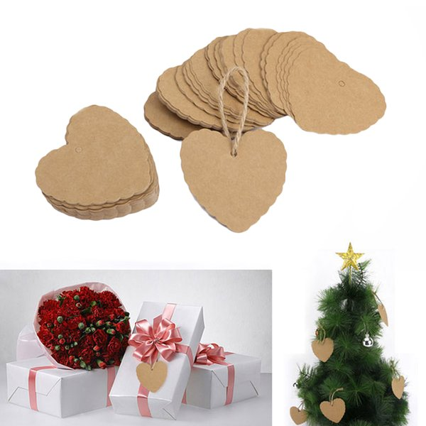 50pcs/Lot Lace Heart Shape Brown Kraft Paper Hang Tags Wedding Party Favor Punch Price Name Label Blank Gift Cards 59x54mm