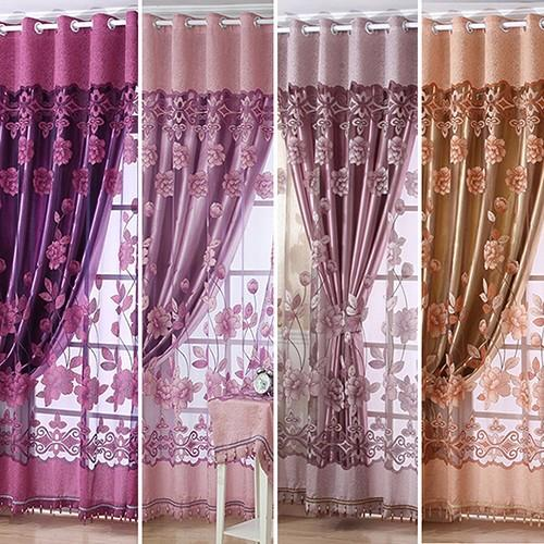 Simple modern European-style high-end sheer floral voile tulle rod pocket curtain fine window curtain drape valance