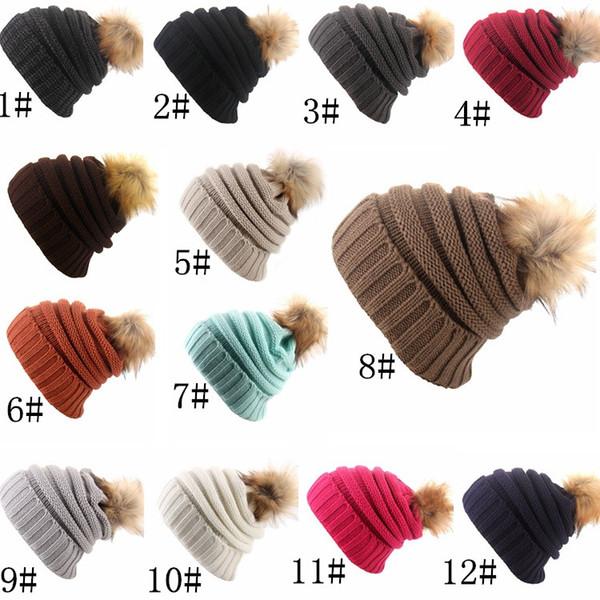 New Knit Beanies Pom Winter Warmer Hats For Womens Crochet Faux Raccoon Rabbit Fur Ball Slouchy Snow Cap