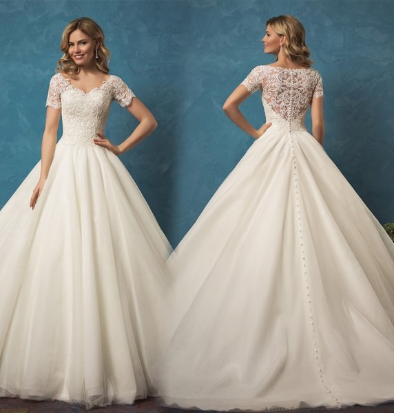 Hot Sale Big Ball Gown Wedding Dress V Neck Short Sleeves See ...