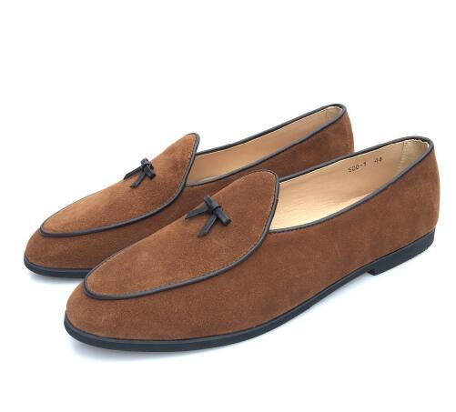 New Mens Suede Slippers Flats With Bowtie Loafers Slip on Belgian Dress Shoes sz