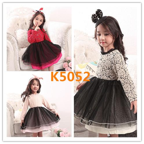 2017 New Arrivals Children Girls Spring Autumn Dress Long Sleeve Knitted Tulle Tutu Dresses One Piece Lace Embroidery Princess Party Dress