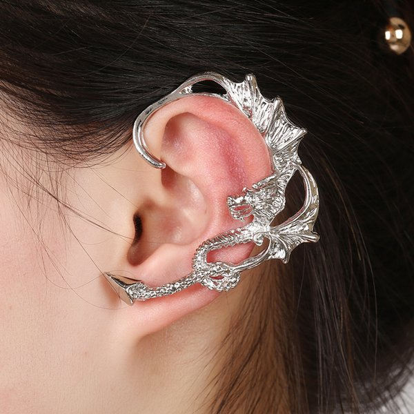 ZLDYOU Punk Style Earcuffs Women Gifts Gothic Skeleton Zinc Alloy Chinese Dragon Ear Cuff Gold Silver Plated Clip Earrings