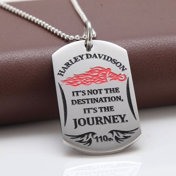 European and American fashion personality Harley blaze motorcycle alphabet label Mens Stainless steel pendants
