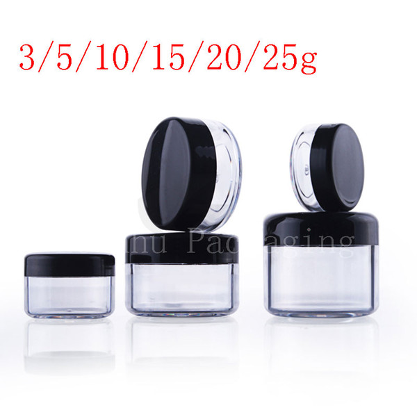 Vazio transparente pequeno plástico redondo display pote claro creme cosmético frasco bálsamo recipiente Mini embalagem do recipiente da amostra