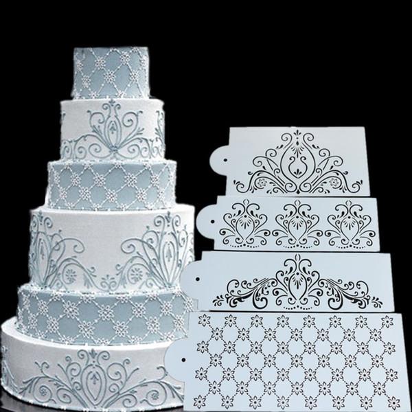 Großhandel Prinzessin Lace Cake Stencil Set, Kuchen Craft Schablonen, Cake Border Stencils Set, Kuchen Schablone dekorieren, Fondant