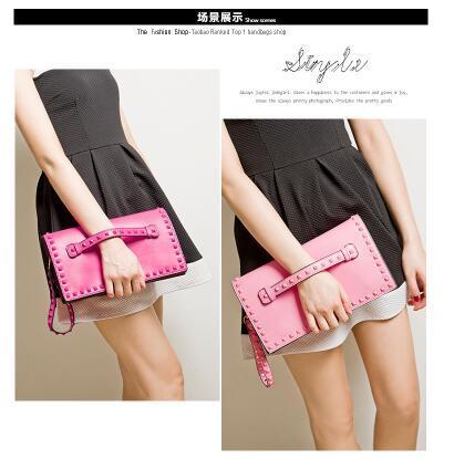 2017 New Fashion Clutch Taschen Flut Handtaschen Frauen Europäischen Amerikanischen Gefangen Niet Umschlag Tasche Handtasche
