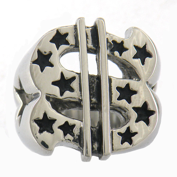 Custom made stainless steel vintage mens or wemens jewelry SIGNET DOLLAR SHAPE CUTOUT STARS RING LETTERS RING 10W85