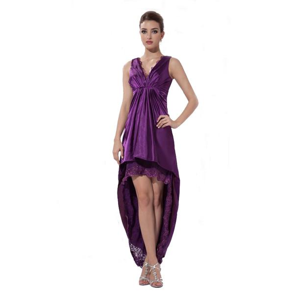New Brand Sexy V-Neck Asymmetrical Design Evening Prom Purple Dress Free Shipping Fashion Ladies 2017 Dress