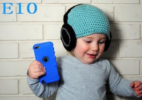 Headset Pattern Crochet Hat lavorato a maglia Baby Boys Winter Christmas Cap Neonato Bambino Bambini Cuffie Beanie 100% Cotone Puntelli Foto