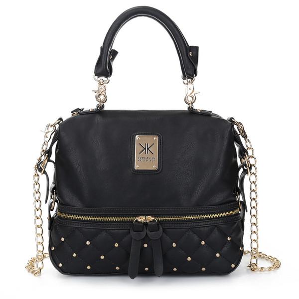 Free Shipping Lady Kim kardaschian kollection kk shoulder bag handbags women rivet fashion bucket gold chawomen chains single shoulder bag