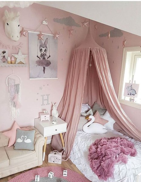 240cm Baby Room Decoration Home Bed Curtain Round Crib Netting Baby Tent Ramie Cotton Hung Dome baby Mosquito Net Photography Props