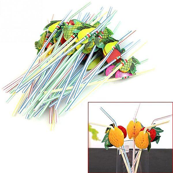 Wholesale- 100Pcs 3D Funny Fruit Umbrella Straw Bar Decoration Party Celebration Colorful Cocktail Drink Straw Random Color