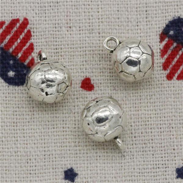 Wholesale- 74pcs Charms 3D football 11mm Tibetan Silver Pendants For DIY Necklace & Bracelets Jewelry Accessories