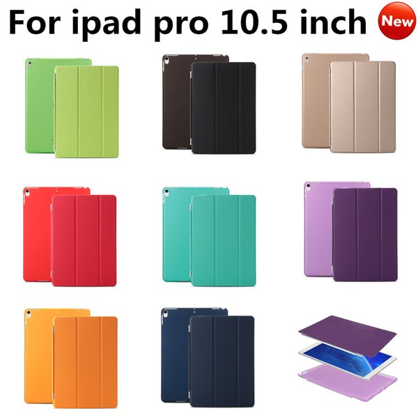Newest Ultra Thin PU Leather Smart Cover Smart Magnetic Clear Transparent Flip Stand Case Cover With Sleep Wake For Ipad Pro 10.5 inch