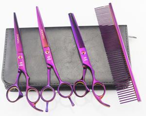 7 '' Forbici da parrucchiere 62HRC JP 440C in acciaio inossidabile per taglio capelli / cesoie da assottigliamento 4 Pz / set con borsa placcata viola.