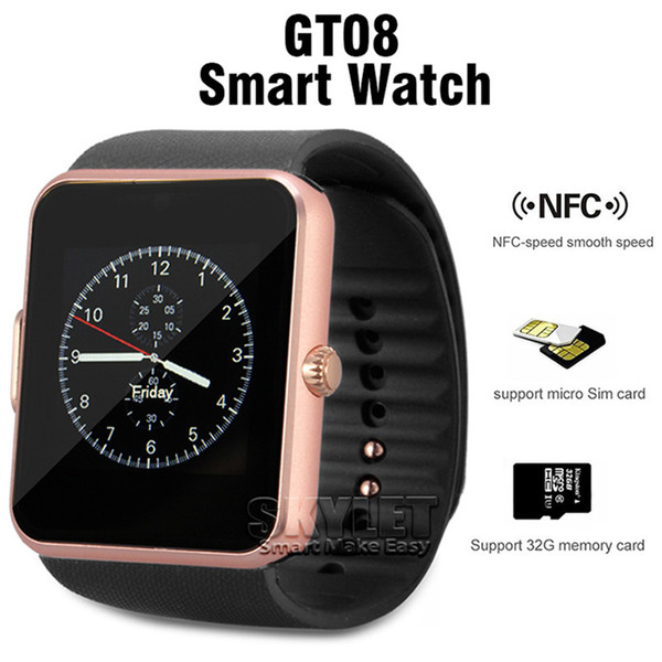 top popular GT08 Bluetooth Smart Watch with SIM Card Slot and NFC Health for Android Samsung and Smartphone Bracelet With Package 2020